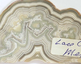 """Beautiful Vintage Slice of Lace Agate from Mexico 4 5/8"""" long"""