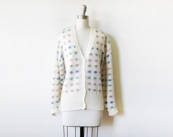 polka dot cardigan, vintage 80s white slouchy sweater, candy dots cardigan, 3xl