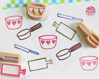 cooking stamp. kitchen utensil hand carved rubber stamp. frying pan, mixing bowl, cutting board, knife stamp. scrapbooking. gifts for her