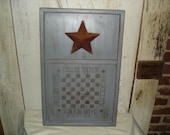 Checkerboard with Star, Wood Checkerboard, Star, Game Board, Primitive, Rustic, Ofg Team, Faap Team, Hafair, ATGOFG