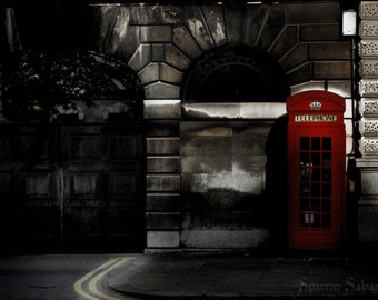 London phonebox 8 X 10 print - English city street scene - available light photography - full bleed