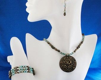 SALE! Beaded Necklace, Multi Strand Bracelet, Drop Earrings Set, Aqua and Bronze, Unique Gift Idea for Her, Handmade Jewelry by m2designs
