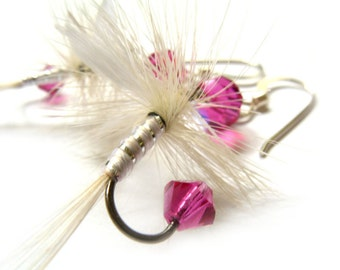 Fishing Lure Earrings - Pink and White