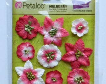 mulberry flowers - paper flowers - Petaloo flowers - card embellishment - scrapbook flowers - scrapbook supplies - red flowers