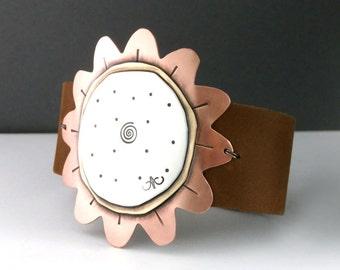 Sunflower Bracelet, Sunflower Cuff, Leather Cuff, Fall Fashion, Flower Cuff, Womens Cuff, Brown Leather Cuff, Sterling Silver Bracelet