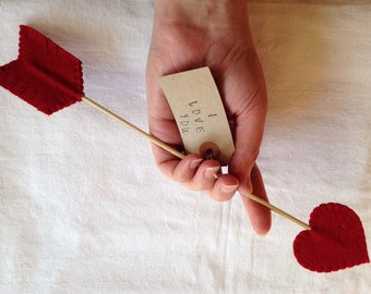 Arrow Love Note - Wool Felt - Valentine, Anniversary, Wedding
