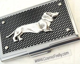 Dog Business Card Case Silver & Black Industrial Steampunk Card Case Dachshund Doxie Weenie Dog Weiner Dog Card Case