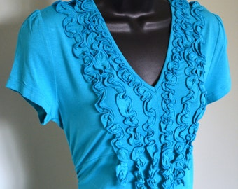 Last chance clearance Sale -Topsy Curvy Beautiful Fringed Aqua Top - Fits Size Medium to Large ( See Measurements )