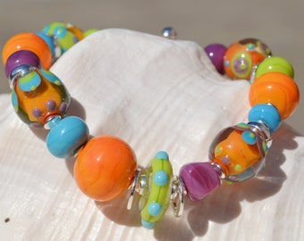 LOTS of LAUGHTER-Handmade Lampwork and Sterling Silver Bracelet