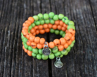 Citrus Acai Beads Bracelet:  Colorful Acai Beads Memory Wire Bracelet / Eco friendly Jewelry, Organic Beads, Acai Seeds / Handmade