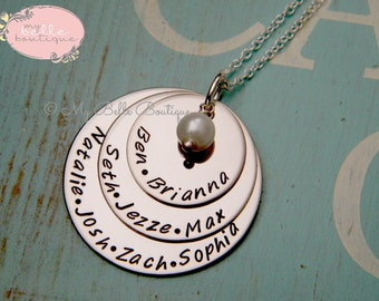 Tripled Stacked Discs Personalized Hand Stamped Necklace with Ivory Freshwater Pearl
