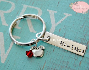 Personalized Hand Stamped Teacher Key Chain with Apple and Red Swarovski Charms