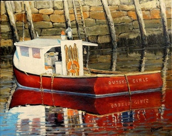 Gussy's Girls at Motif #1 Rockport,MA  Original Oil Painting on sale