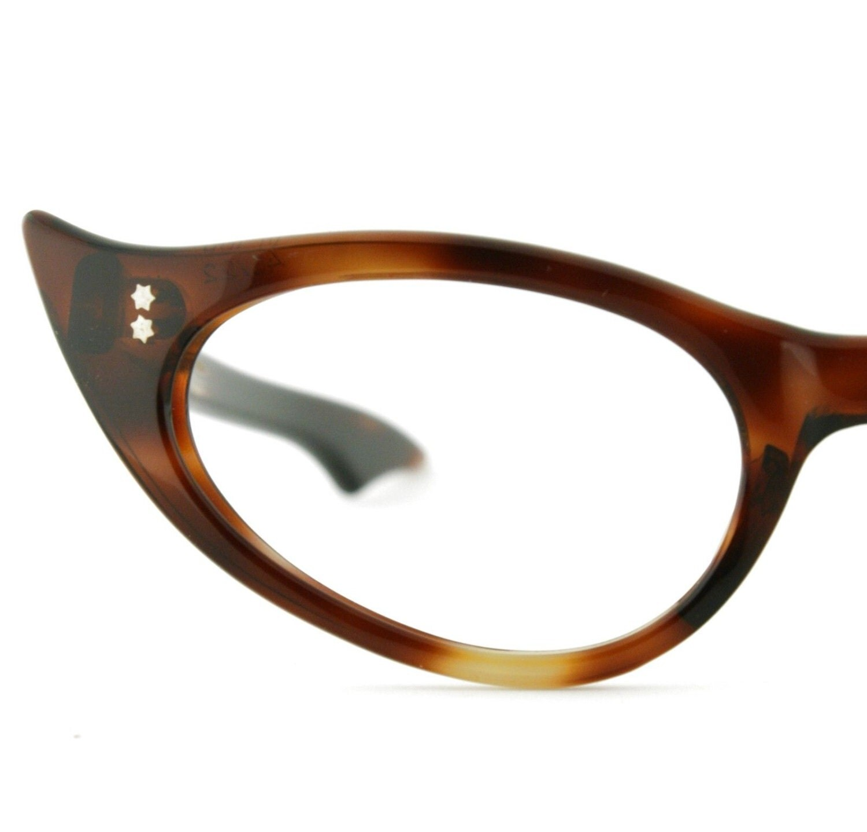 Amber Tortoise Shell Cat Eyeglass Frames Vintage Ladies
