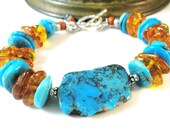 Kingman Turquoise Bracelet, Baltic Amber Bracelet, Chunky Bracelet