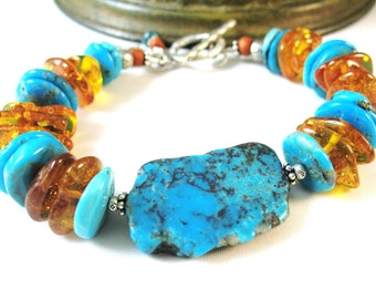 Kingman Turquoise Bracelet, Baltic Amber Bracelet, Narcozari Turquoise, Chunky Bracelet