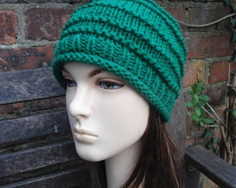 EMERALD ISLE green easy wear easy care knit hat beanie cap hat by irish granny