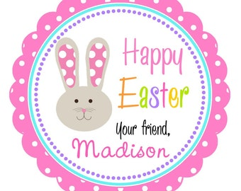 Easter Stickers, Easter Bunny Labels, Personalized Easter Stickers, Easter Hang Tags -Set of 12