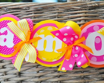 You are my Sunshine High Chair Banner in Yellow-Pink-Orange, You are my Sunshine Birthday Party