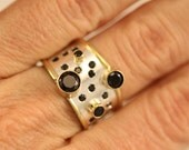 Galaxy Ring in Sterling Silver with 14KY Gold Accents and Black Spinel (Made to Order)