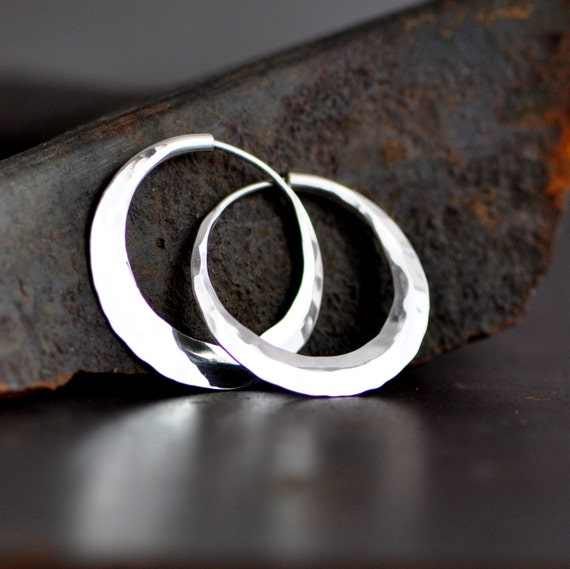 sterling silver hoop earrings, 1 inch petite,  hammered endless style hoops, planishing smooth, crescent moon hoops