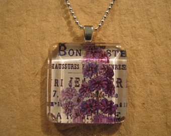 "Purple Floral Square Glass Pendant with 24"" Ball Chain Necklace Floral Jewelry"