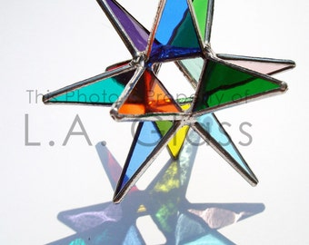 "Three 3.5"" Miniature Rainbow Moravian Stars - Handmade Stained Glass - Home Decor"