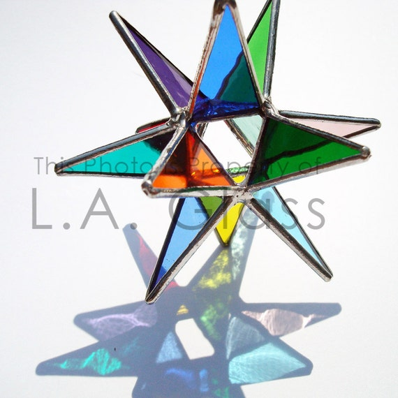 "3.5"" Miniature Rainbow Moravian Star - Handmade Stained Glass"