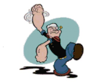 Popeye The Sailor Man Counted Cross Stitch Pattern