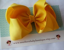 NEW ITEM---School Cheer Pony O Bow XX-Large 7 Inch Hair Bow---Sunshine Yellow---Sale Sale Sale