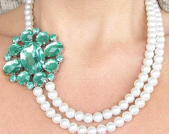 Wedding Jewelry Green Statement Necklace Bridal Jewelry Emerald Necklace Pearl Necklace Bridesmaid Jewelry