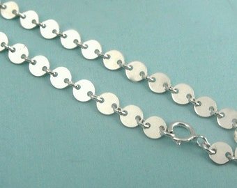 Sequin Sterling Silver Charm Bracelet Chain, FINISHED Disc Chain, 4mm, 7 inches