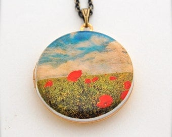 Locket Necklace Red Poppies Locket Red Poppy Flower In Field Blue Sky Unique Art Necklace Jewellery Gift Handmade By Verabel