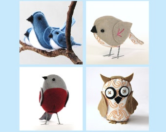 "The ""Feathered Friends"" set of 4 D.I.Y. PDF patterns - sparrow, owl, bluebirds and robin --INSTANT download--"