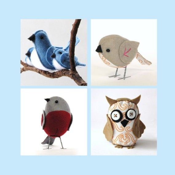 """The """"Feathered Friends"""" set of 4 D.I.Y. PDF patterns - sparrow, owl, bluebirds and robin --INSTANT download--"""
