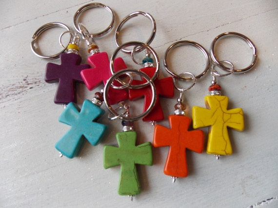 Large Cross Keychain Czech Glass Beads Rhinestones Bold Beautiful Large Cross Keychain Gift Spiritual Key Ring
