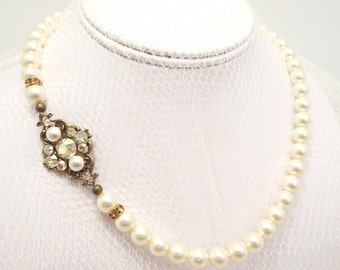 Champagne gold Wedding necklace, Bridal pearl necklace, Vintage style necklace, Bridal jewelry, Rhinestone necklace, Swarovski necklace