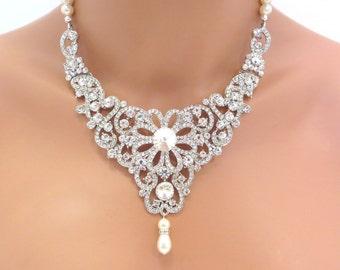 Bridal statement necklace, Wedding jewelry, Pearl Wedding necklace, Rhinestone necklace, Pearl necklace, Bib style necklace, Swarovski