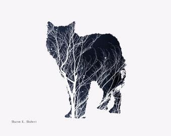 Wolf Art, Navy Blue Photomontage, Minimalist Southwestern, Native American Totem Animal, Wolves Home Decor, Wall Hanging, Giclee Print