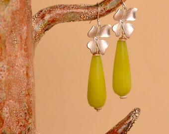 Olive Jade Earrings. SALE.  Chartreuse Jade Smooth Teardrops. Silver Mixed Metal Earrings. Lime Jade Gemstone Earrings.