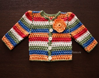 Hand Crocheted Baby Cardigan,  Baby Sweater 93a.