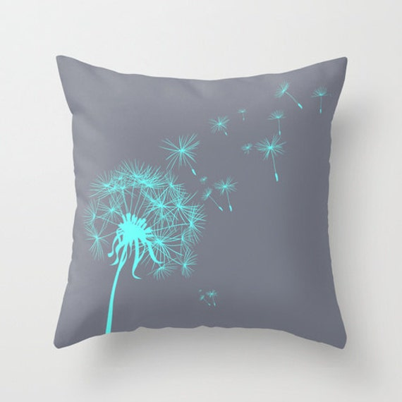 Gray and Teal Dandelion Throw Pillow or Cover by hhprint on Etsy