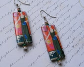Art Deco Flapper in Green and Red-decoupage earrings, lightweight, 3 inches 7 1/2 cm