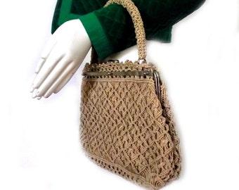 50s Handbag Purse / Vintage Crochet Bag / Ecru Sand Taupe