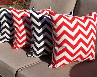 Chevron Black and White and Chevron Red Outdoor Throw Pillow - Free shipping