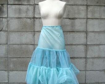 Teal Blue Petticoat  Crinoline Vintage Adult