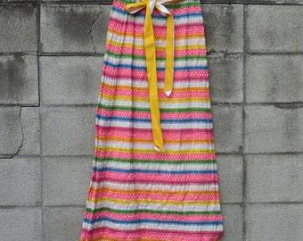 Bright Stripe Skirt Vintage 1970s Orvieto Creations Long Maxi Women's