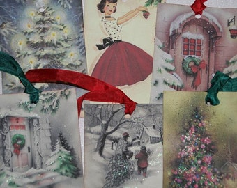 Christmas Tags Holiday Gift Tags Sampler Set  Variety lot  Glittered Vintage Inspired  Set of 12