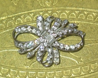 Cal Art USA sterling silver large rhinestone prong set round, marquis, baguette bow swirl 1940's BROOCH