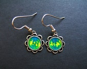 AMBROSIA AFFORDABLES 13 x13 mm Earrings Blue Green Yellow